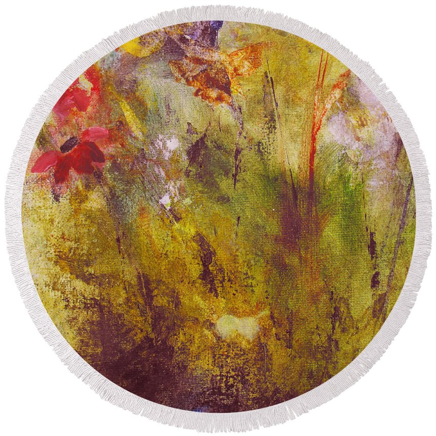 Botanical Round Beach Towel featuring the painting Flora by Ruth Palmer