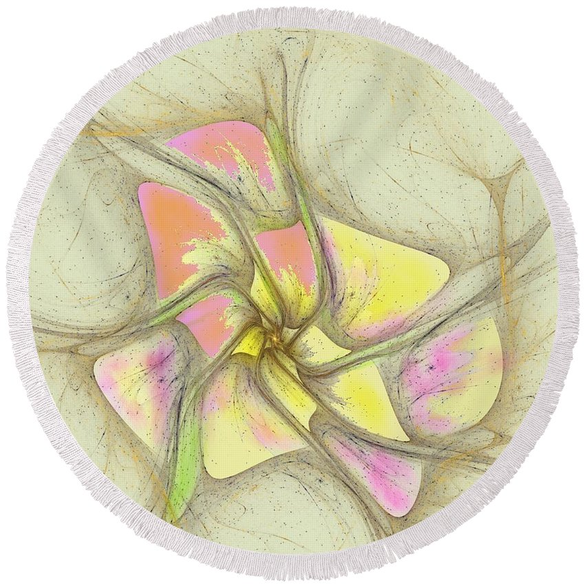 Round Beach Towel featuring the digital art Floral 2-19-10-a by David Lane