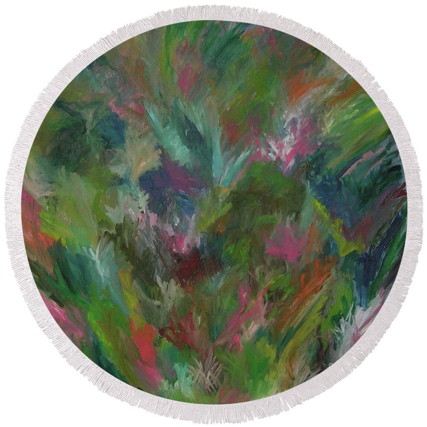 Floral Round Beach Towel featuring the painting Floral Abstraction by Cori Solomon