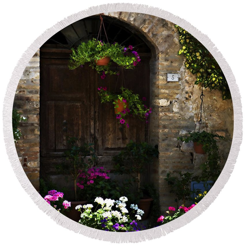 Floral Round Beach Towel featuring the photograph Floral Adorned Doorway by Marilyn Hunt