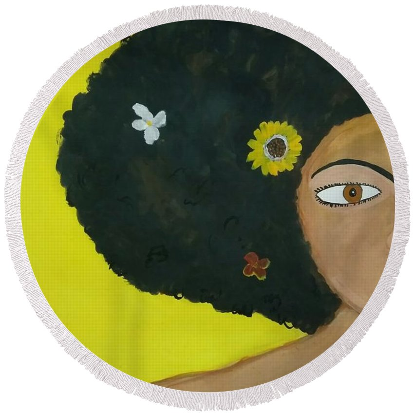 Contemporary Round Beach Towel featuring the painting Floral Allure by Nidhi Sharma