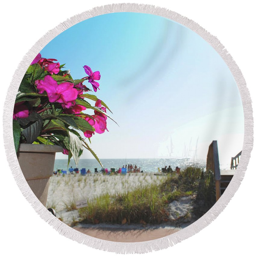 Beach Round Beach Towel featuring the photograph Floral Beach by Jost Houk