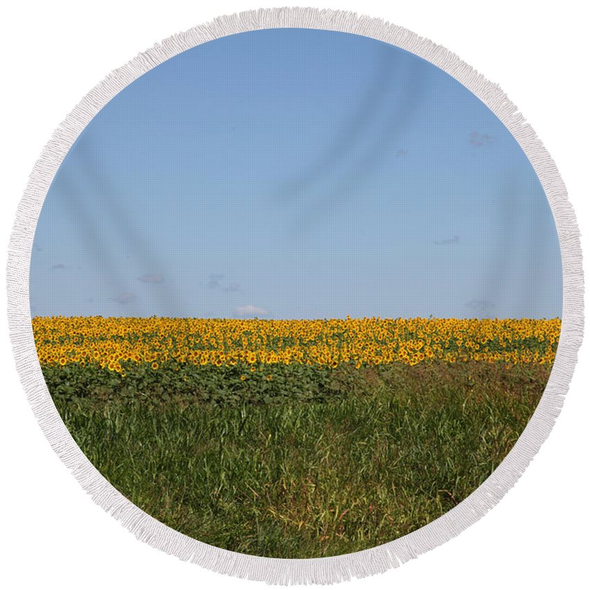 Sunflowers Round Beach Towel featuring the photograph Floral Blur by Amanda Barcon