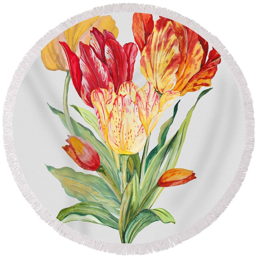 Watercolor Painting Round Beach Towel featuring the painting Floral Botanicals-jp3789 by Jean Plout