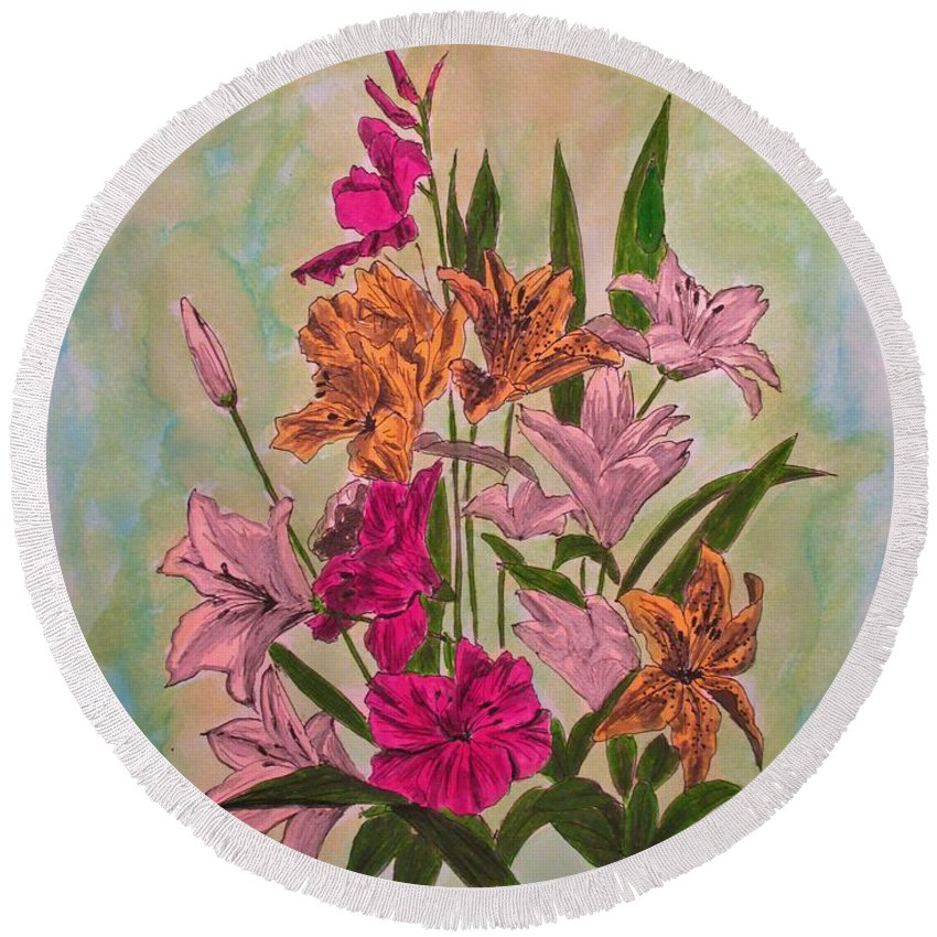 Flowers Round Beach Towel featuring the painting Floral Bouquet by Olga Silverman