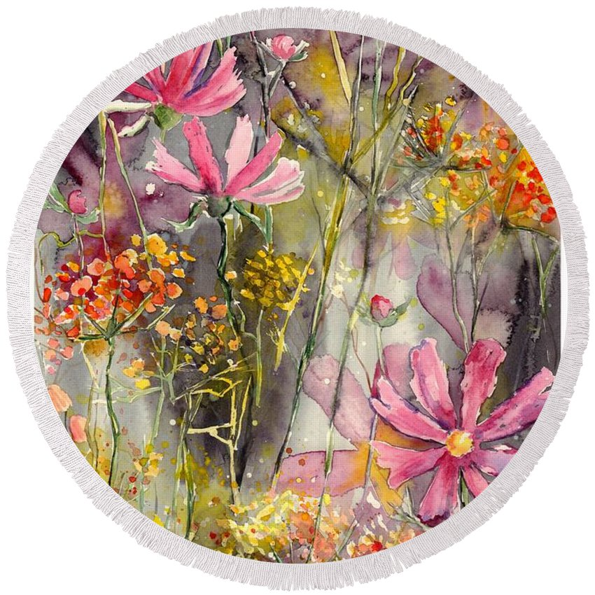 Pink Round Beach Towel featuring the painting Floral Cosmos by Suzann Sines