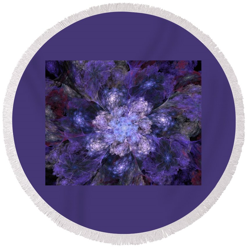 Digital Painting Round Beach Towel featuring the digital art Floral Fantasy 1 by David Lane