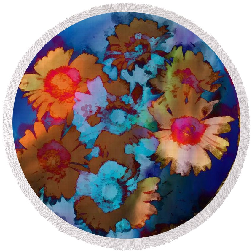 Floral Hotty Totty Differs Round Beach Towel featuring the photograph Floral Hotty Totty Differs by Catherine Lott