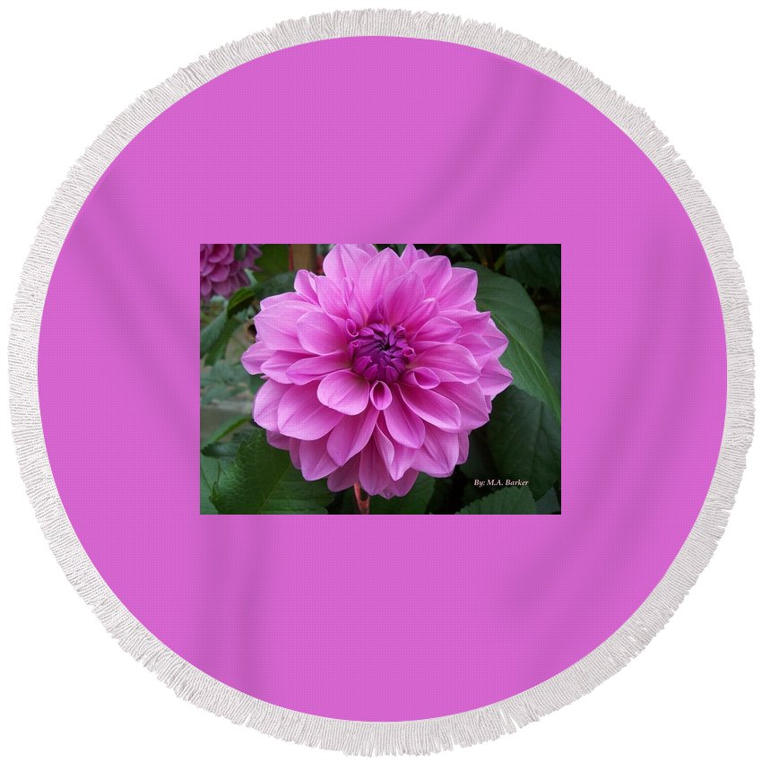Floral Pink Round Beach Towel featuring the photograph Floral In Pink by Mary ann Barker