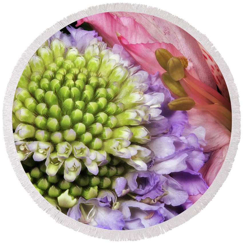 Macro Round Beach Towel featuring the photograph Floral Macro by Robert Storost