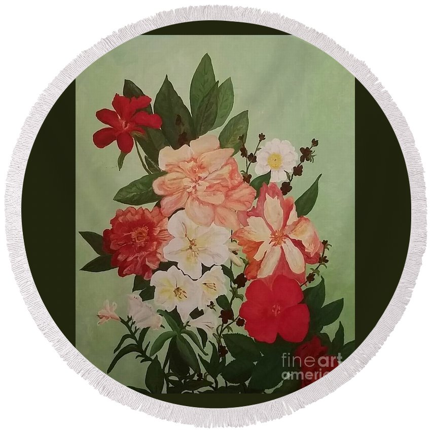 Flowers Round Beach Towel featuring the painting Floral On Green by Kelly Delvalle