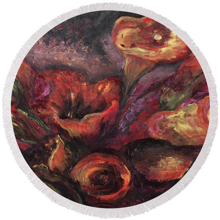 Calla Lilies Round Beach Towel featuring the painting Floral Sun Worship by Nadine Rippelmeyer