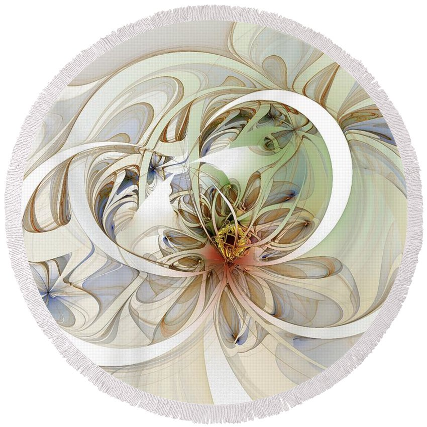 Digital Art Round Beach Towel featuring the digital art Floral Swirls by Amanda Moore