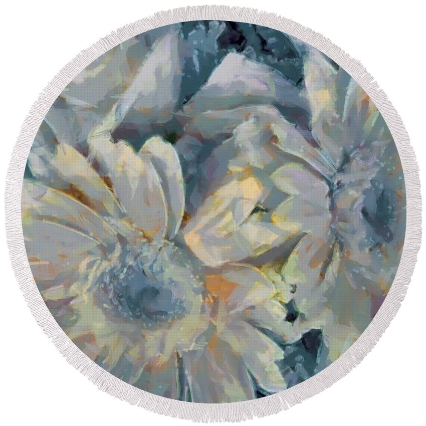 Floral Vegged Out Wow Round Beach Towel featuring the digital art Floral Vegged Out Wow by Catherine Lott