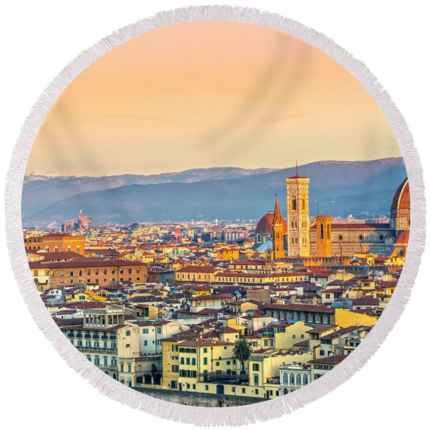 Duomo Round Beach Towel featuring the photograph Florence At Sunrise - Tuscany - Italy by Luciano Mortula