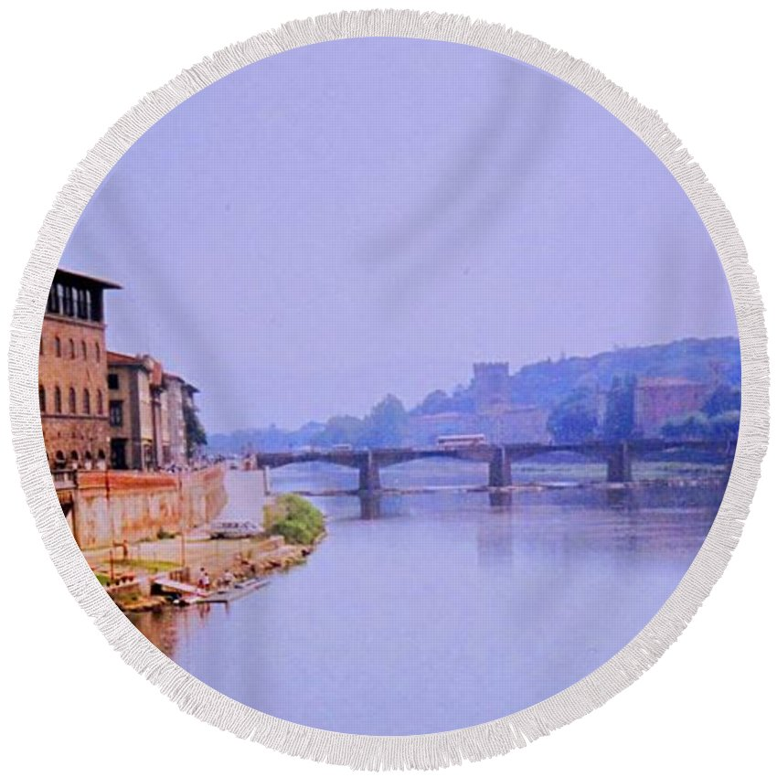 Florence Round Beach Towel featuring the photograph Florence by Ian MacDonald