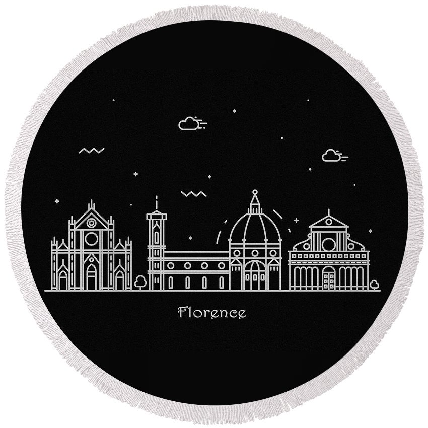 Florence Round Beach Towel featuring the drawing Florence Skyline Travel Poster by Inspirowl Design