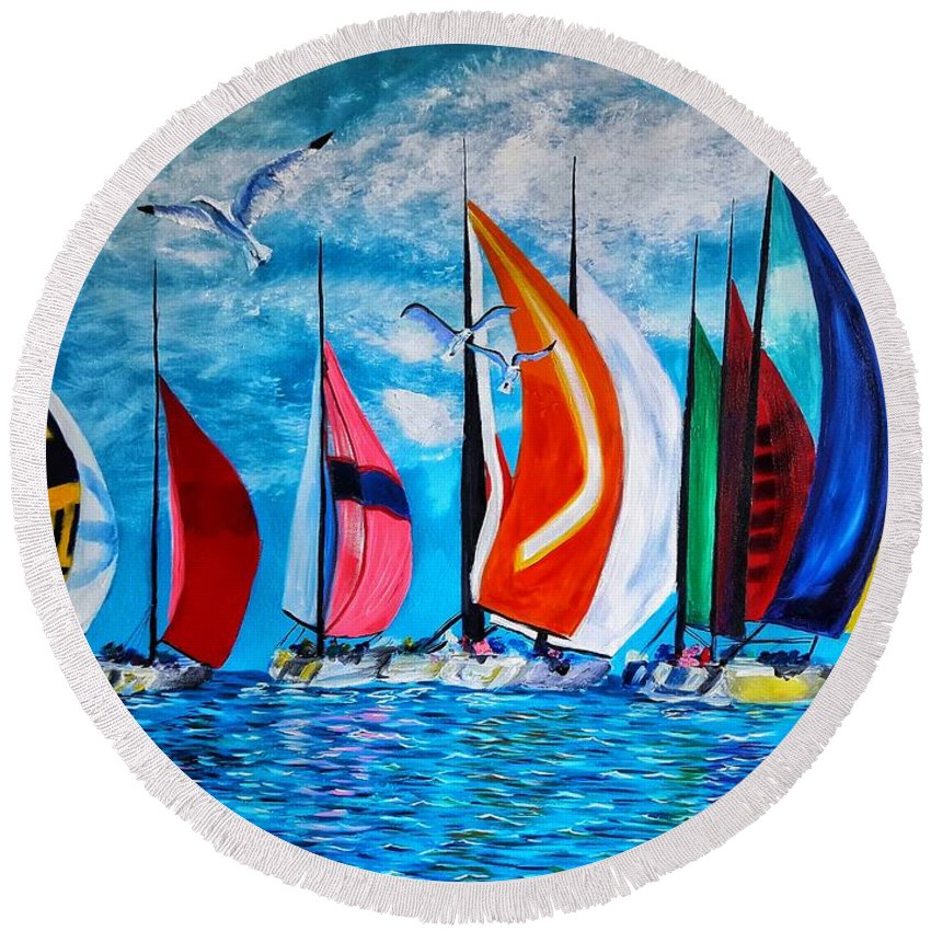 Round Beach Towel featuring the painting Florida Bay by Joel Cafiero