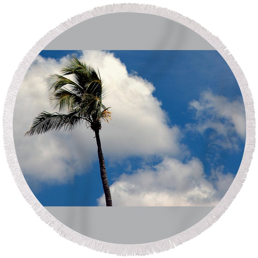 Photography Round Beach Towel featuring the photograph Florida Clouds by Susanne Van Hulst