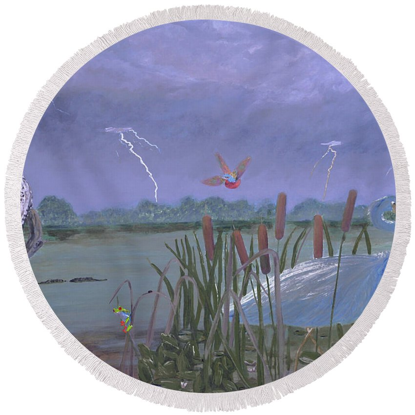 Thunder Round Beach Towel featuring the painting Florida Everglades Thunderstorm by Ken Figurski