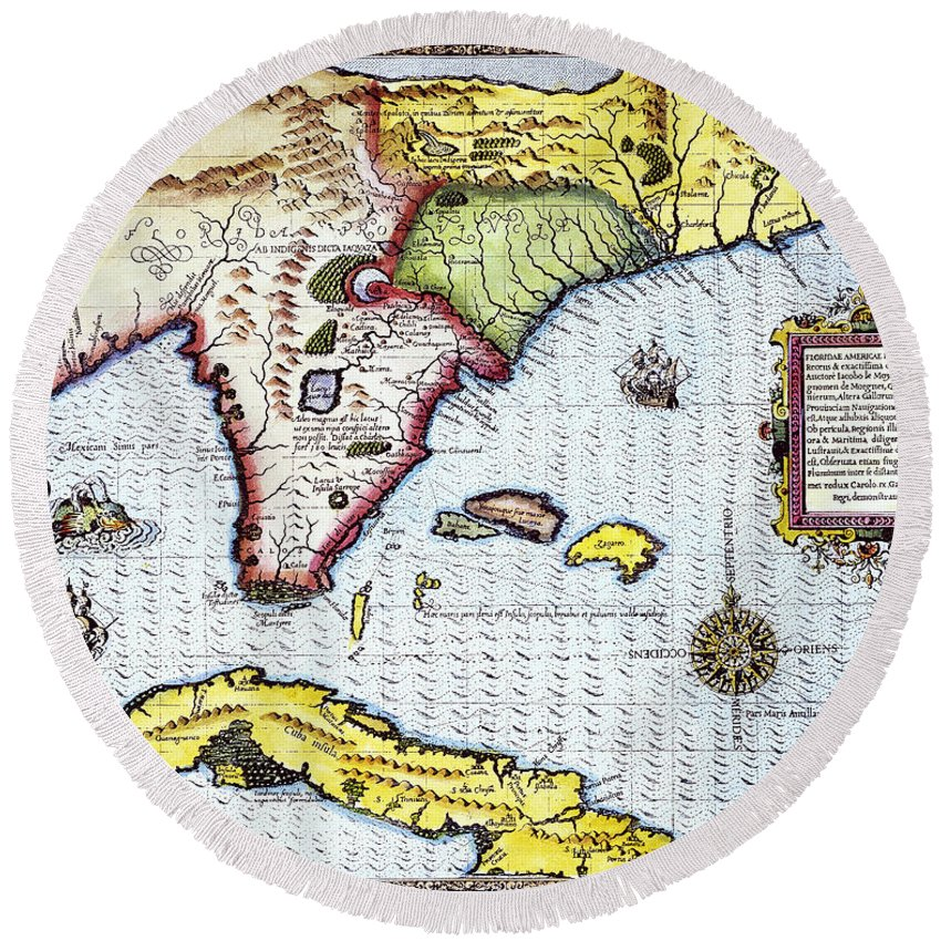 1591 Round Beach Towel featuring the photograph Florida: Map, 1591 by Granger