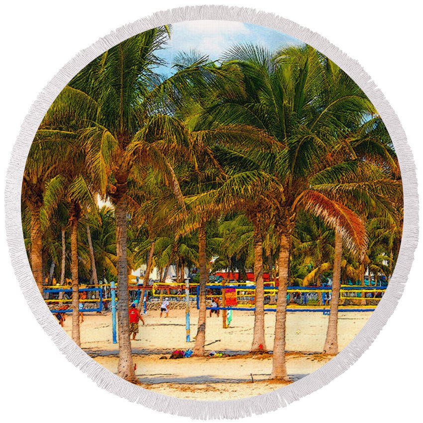 Art Round Beach Towel featuring the painting Florida Style Volleyball by David Lee Thompson