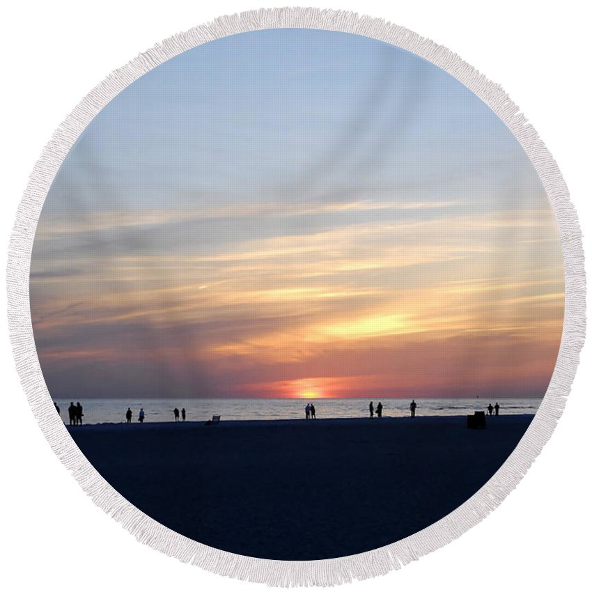 Florida Round Beach Towel featuring the photograph Florida Sunset by David Lee Thompson