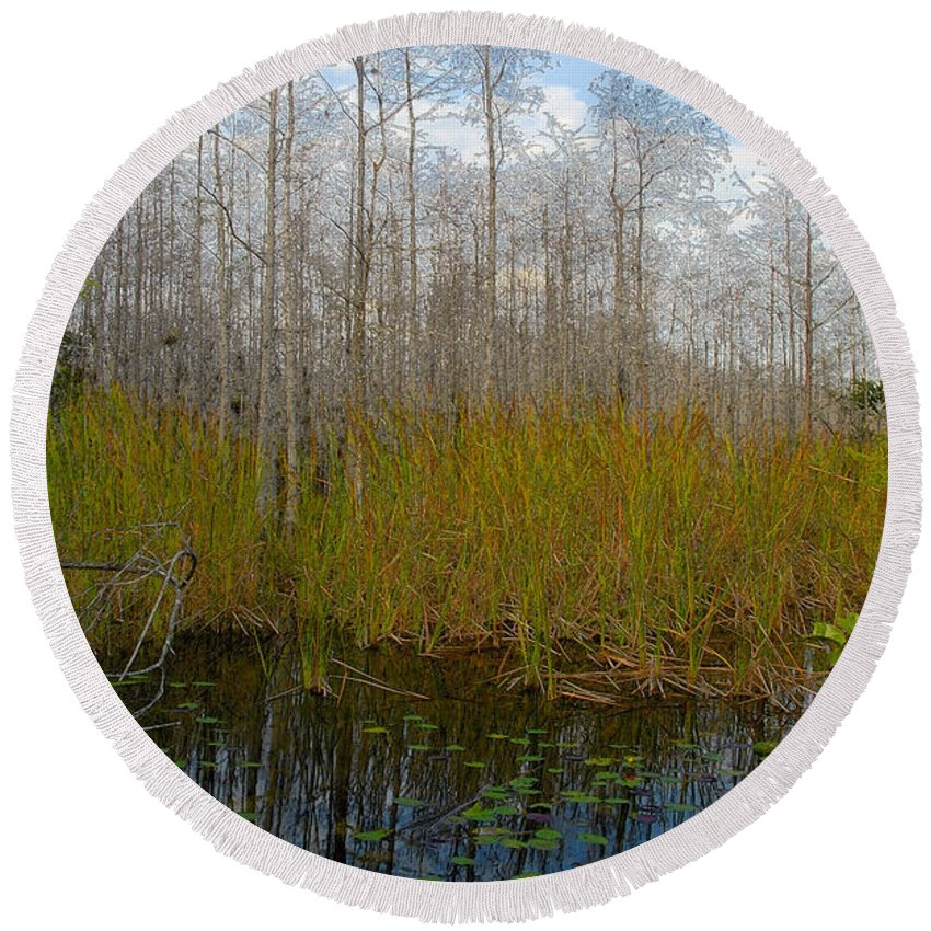 Florida Round Beach Towel featuring the painting Florida Wilderness by David Lee Thompson