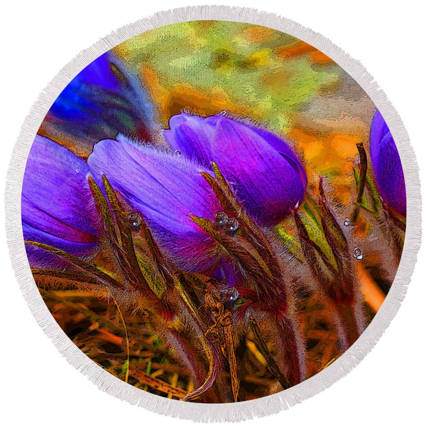 Flowers Round Beach Towel featuring the photograph Flourescent Flowers by Heather Coen