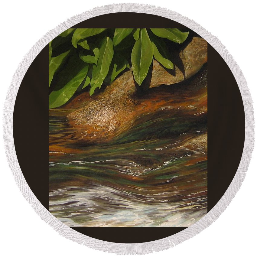 Colorado Mountain Stream Round Beach Towel featuring the painting Flow by Hunter Jay