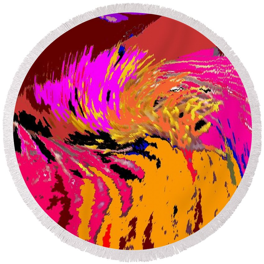 Abstract Round Beach Towel featuring the digital art Flow by Ian MacDonald