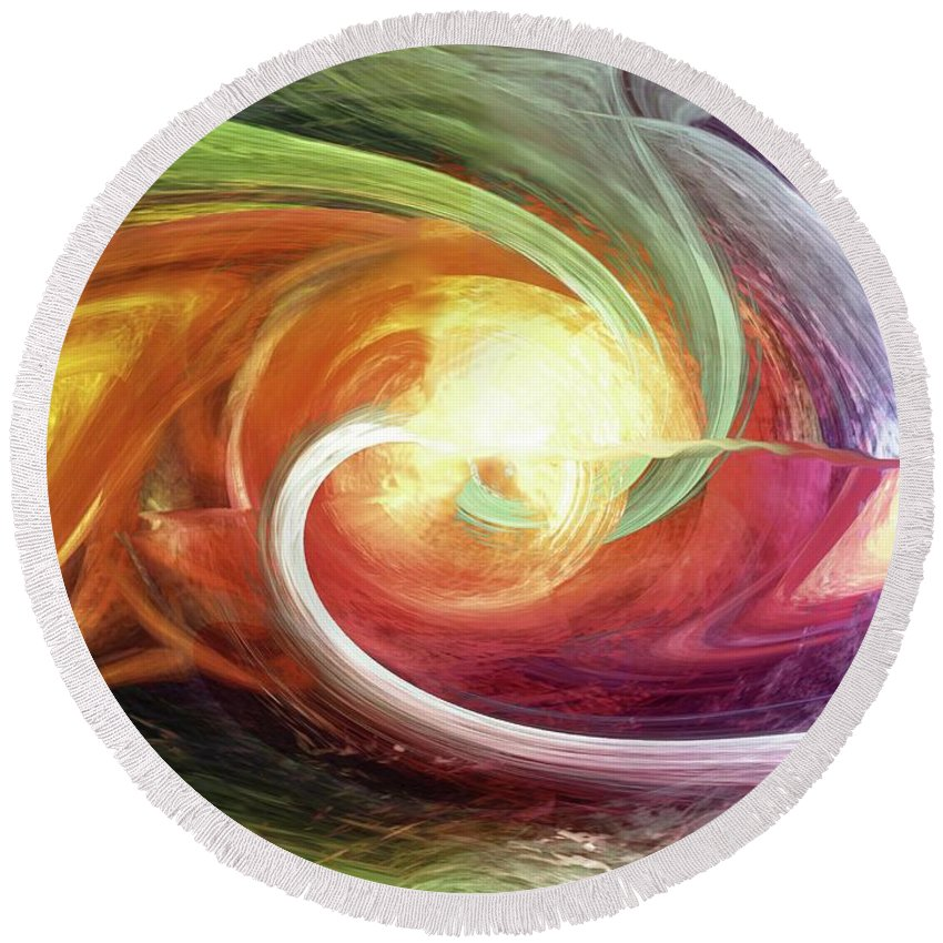 Flow Round Beach Towel featuring the digital art Flow by Linda Sannuti