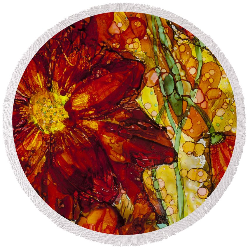 Red Flower Round Beach Towel featuring the painting Flower 4 by A And K Art Studio
