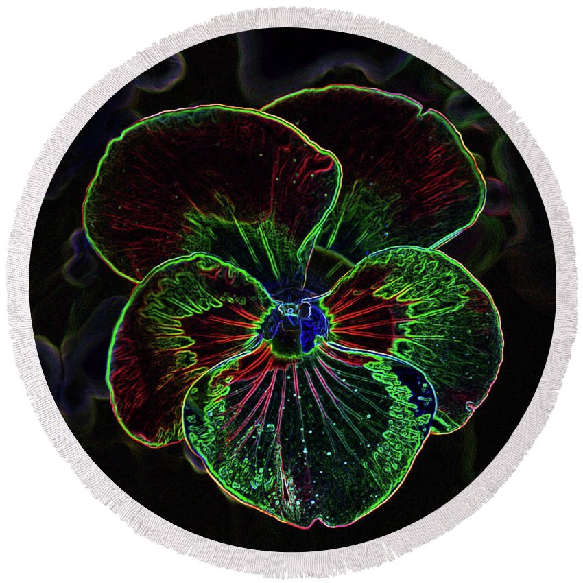 Flower Round Beach Towel featuring the photograph Flower 5 - Glowing Edges by Lee Hart