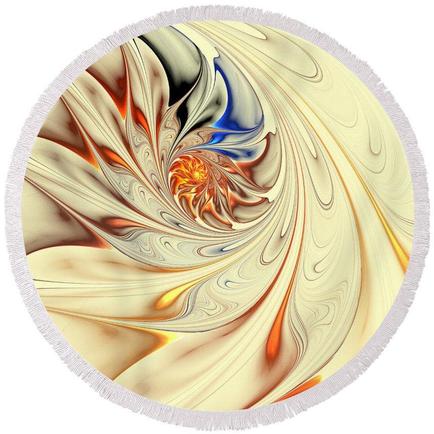 Digital Round Beach Towel featuring the digital art Flower Abstract Light by Deborah Benoit