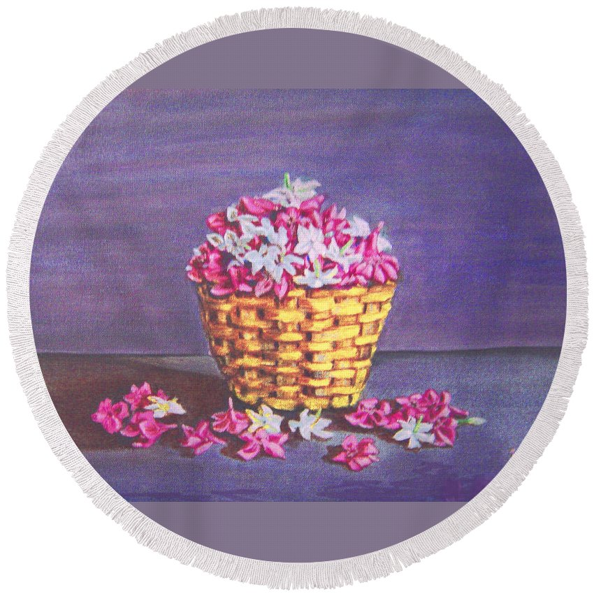Flower Round Beach Towel featuring the painting Flower Basket by Usha Shantharam