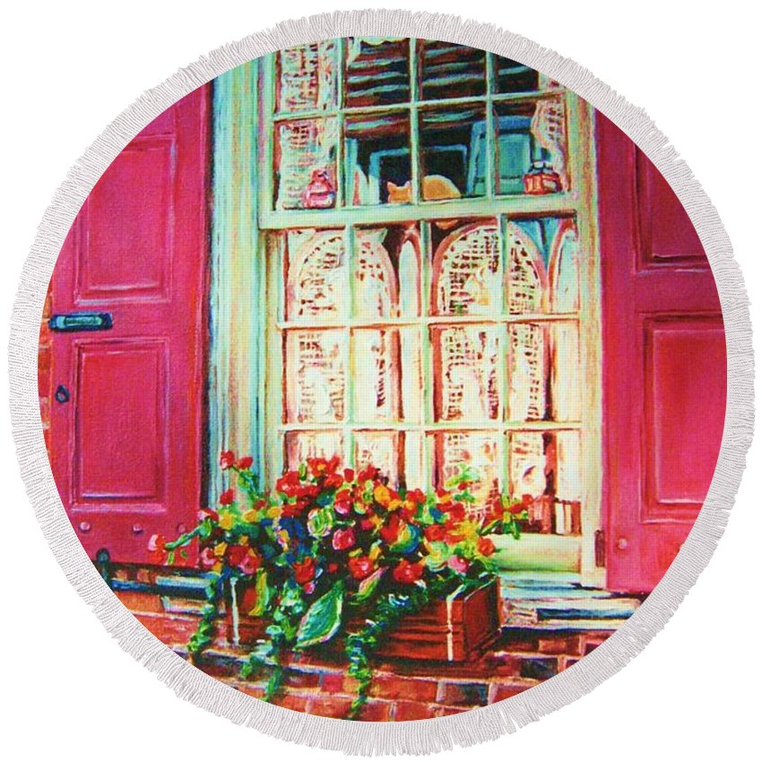 Flower Box Round Beach Towel featuring the painting Flower Box And Pink Shutters by Carole Spandau