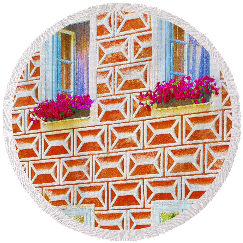 Sgraffito Round Beach Towel featuring the painting Flower Boxes In Slavonice by Jeelan Clark
