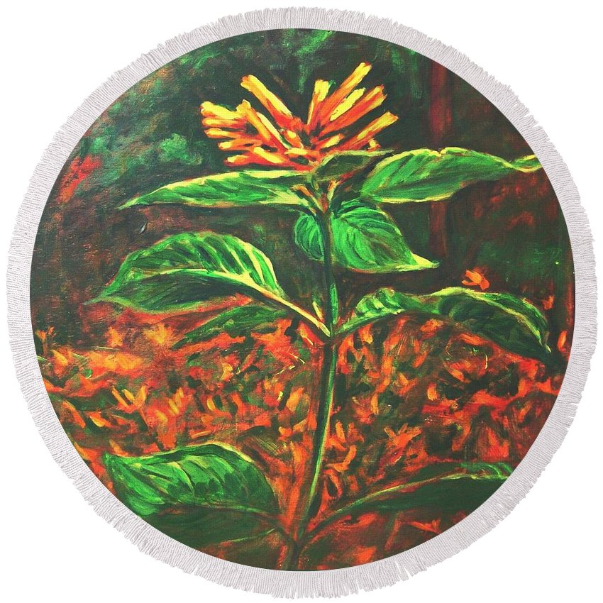 Flower Round Beach Towel featuring the painting Flower Branch by Usha Shantharam