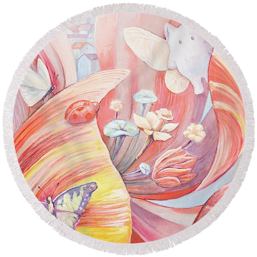 Flower Round Beach Towel featuring the painting Flower City by Olga Yatsenko
