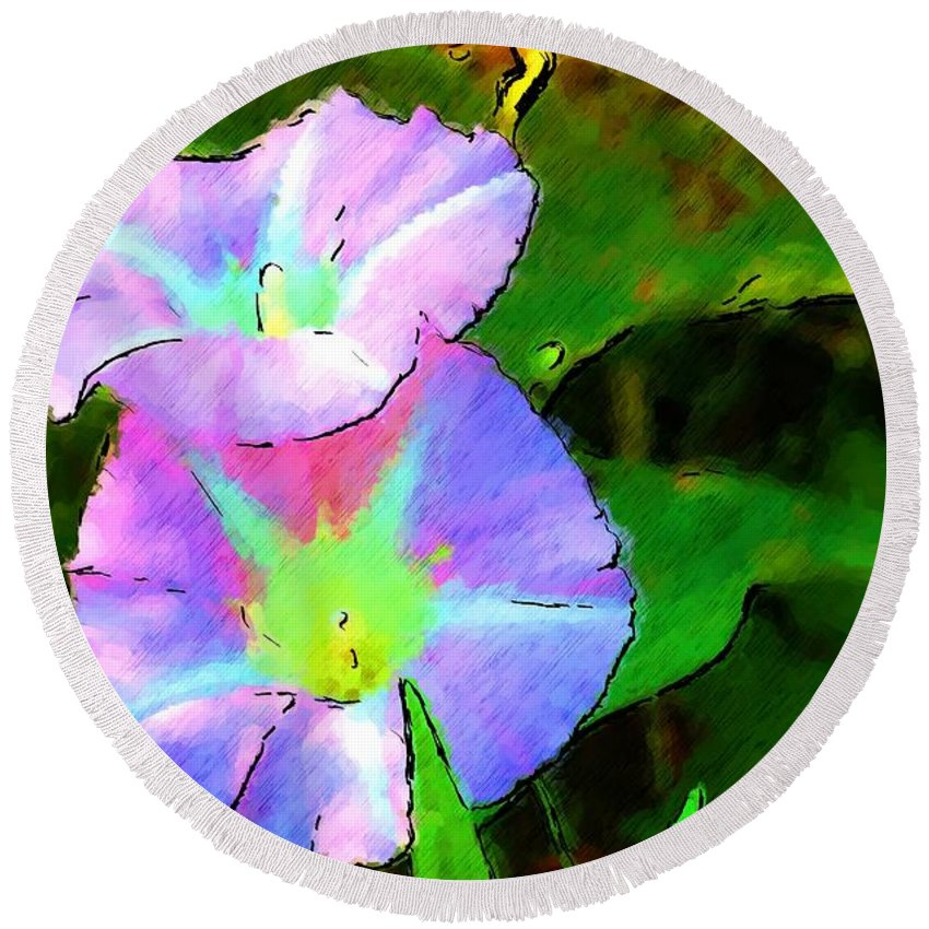 Digital Photograph Round Beach Towel featuring the photograph Flower Drawing by David Lane