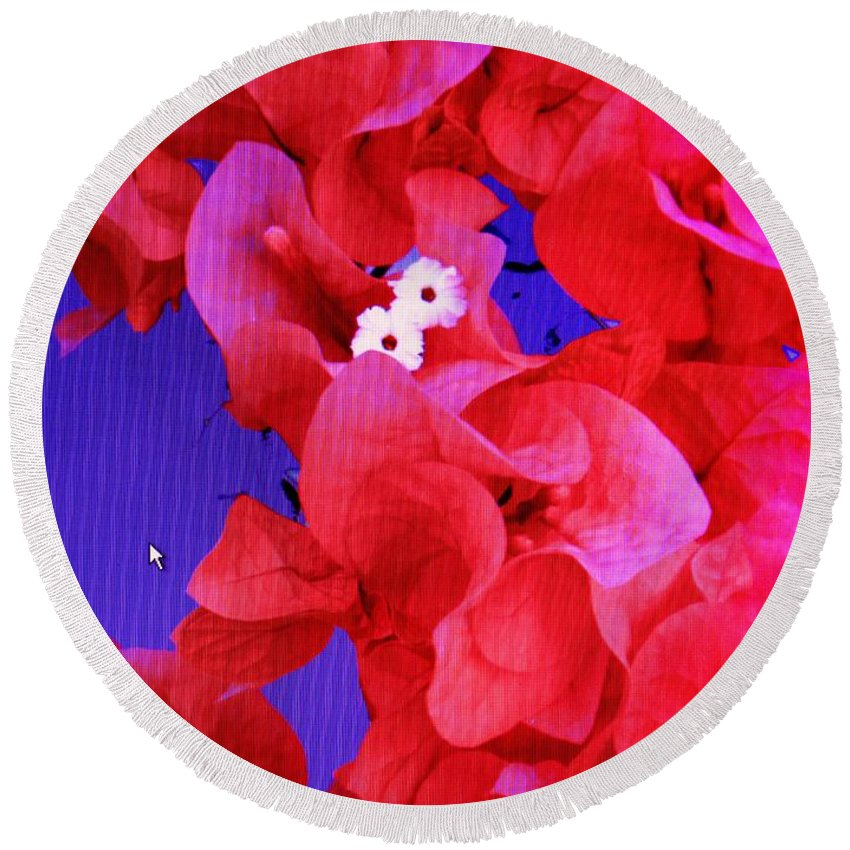 Red Round Beach Towel featuring the photograph Flower Fantasy by Ian MacDonald