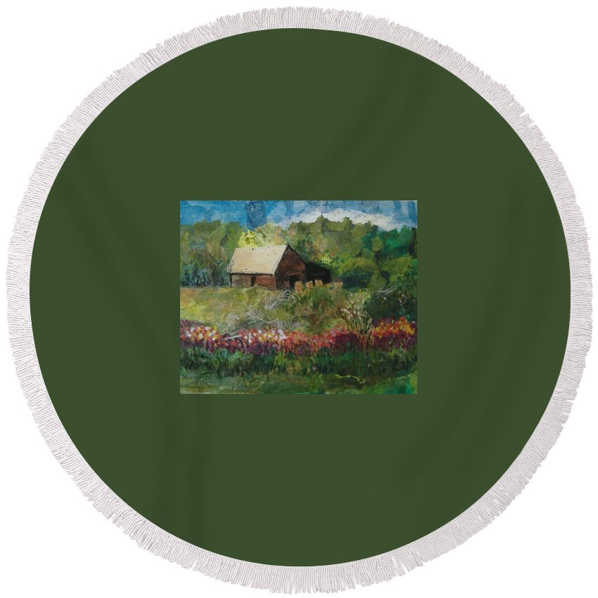 Landscape Round Beach Towel featuring the mixed media Flower Farm by Pat Snook