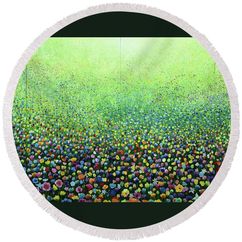 Purple Round Beach Towel featuring the painting Flower Field Riot by Geoff Greene