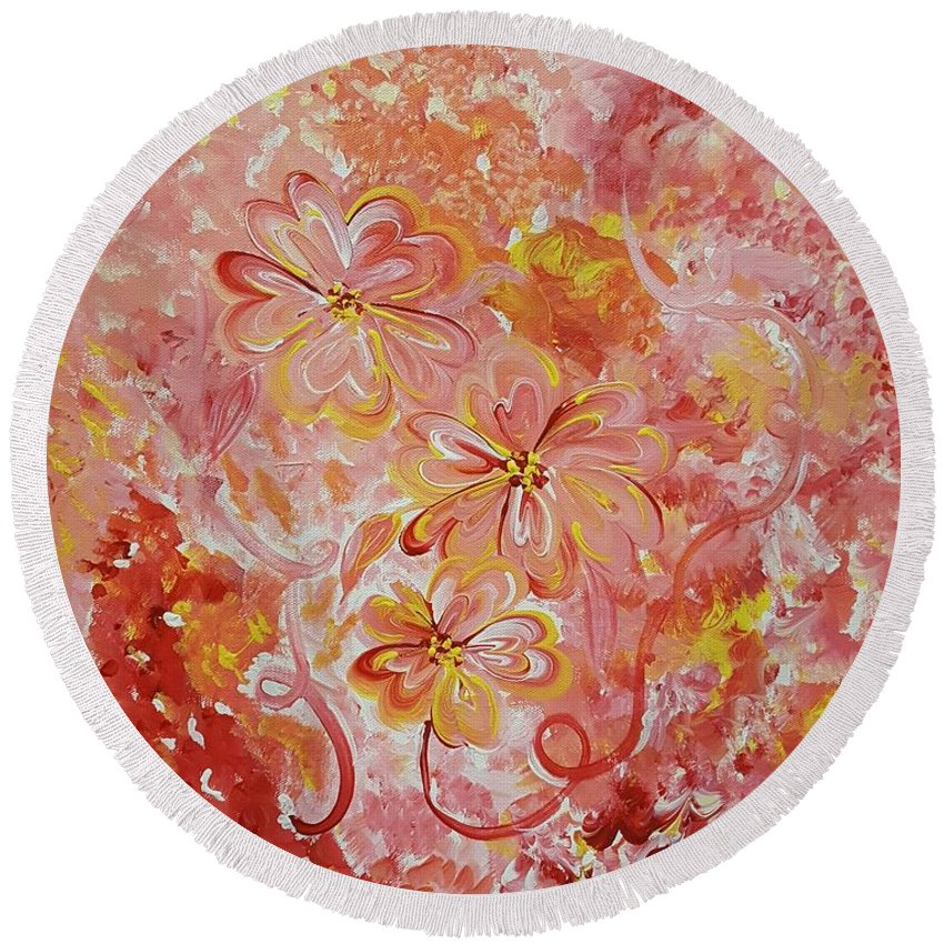 Dog Round Beach Towel featuring the painting Flower Fun by Dianne Scheerer Gibson