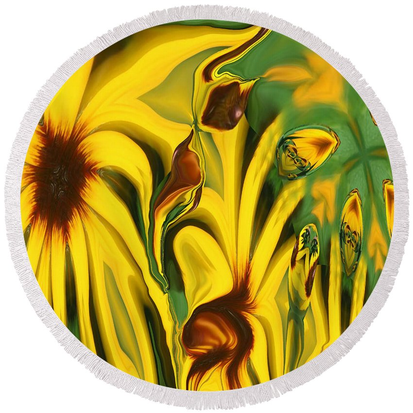 Abstract Round Beach Towel featuring the photograph Flower Fun by Linda Sannuti