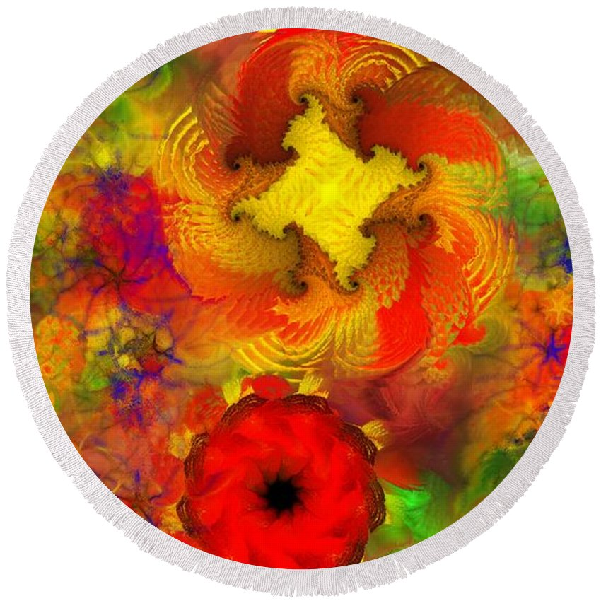 Abstract Digital Painting Round Beach Towel featuring the digital art Flower Garden 8-27-09 by David Lane