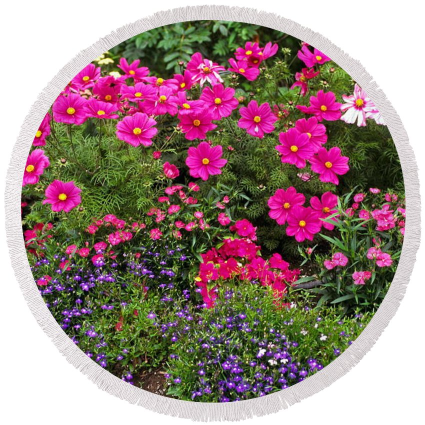 Flower Garden Round Beach Towel featuring the photograph Flower Garden In Rose Pink And Purple by Sally Weigand