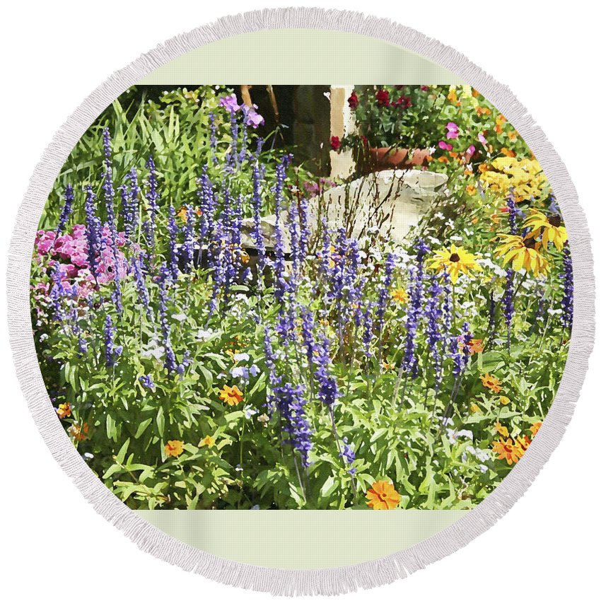 Flower Round Beach Towel featuring the photograph Flower Garden by Margie Wildblood
