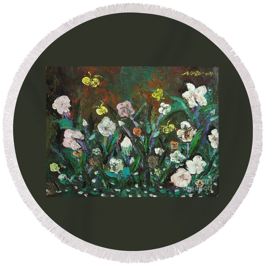 Abstract Paintings Round Beach Towel featuring the painting Flower Garden by Seon-Jeong Kim